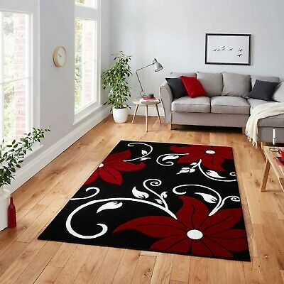 Black Red Medium Modern Large Thick 12Mm High Quality Polypropylene Flower Rugs