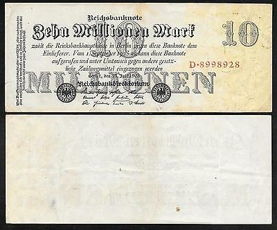 Germany Paper Money - Old 10 Millionen Note - 1923 - P96 - F to VF