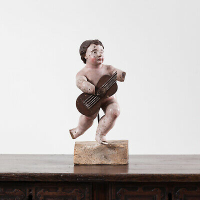 Late 17th Century Italian Painted Putto. Antique Carving Putti / Cherub.