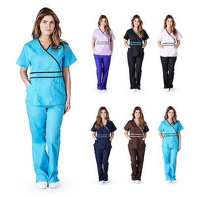 Womens Contrast Mock Wrap Medical Hospital Nursing Uniform Scrub Set Top & Pants