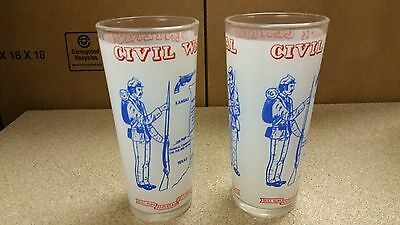 Lot of (2) 1965 Civil War Centennial Frosted Souvenir Glass Frosted Hazed Atlas