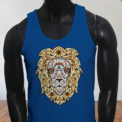 Beast Animal Wild Safari Tipsy Strong Dead Lion King Mens Blue Tank Top