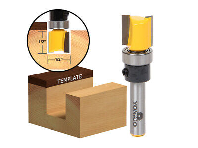 "1/2"" Hinge Mortise Flush Trim Template Router Bit - 1/4"" Shank - Yonico 14169q"
