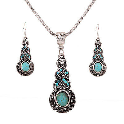 Silver Plated Chain Turquoise Crystal Earrings Necklace Set Women Jewelry