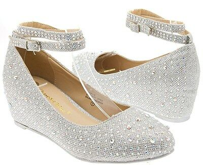Women's Low Wedge Heel Pump Bridal Wedding Shoes Ankle Strap Silver Rhinestones