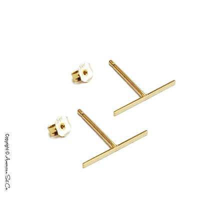 Solid 14K Gold T BAR Shiny Stud Earrings High Polish Push Back Pair
