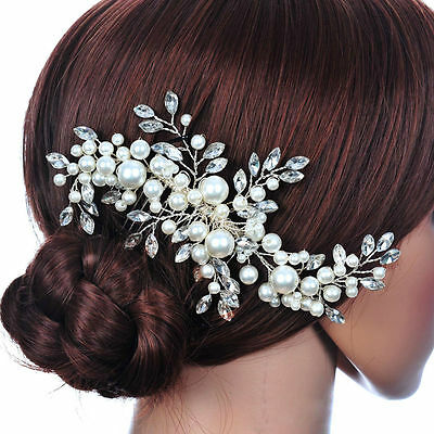91b Bridal SP Floral Flower Faux Pearl & Marquise Crystal Comb Hair Accessory