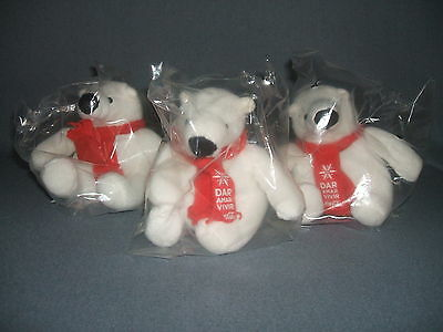 """(3) Coca Cola Polar Bear with Red Scarf ( Give, Love, Live Coca Cola) 4"""" Tall"""