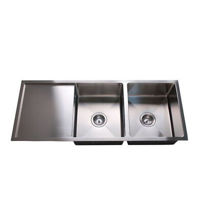 1110*450*200mm Double Bowl Undermount &Drop in Stainless Steel Sink with Drainer