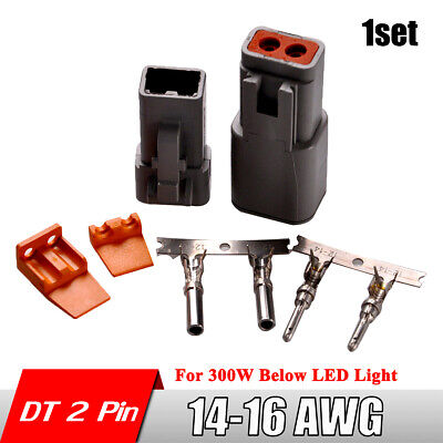 1Set DT 2 Pin Connector Male and Femal 14-16 AWG Pins Contacts Deutsch Plugs Kit