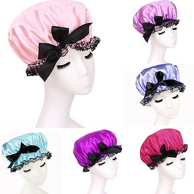 Women Girls Bowknot Shower Cap Bath Reusable Clear Satin Hair Cover Spa Colorful