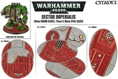 Sector Imperialis 60mm Round, 75mm und 90mm Oval Bases (18 Bases) Games Workshop