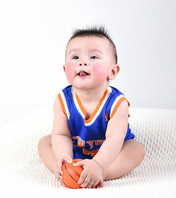 Baby Infant toddler NBA Jersey Romper Jumpsuit New York - Anthony #7