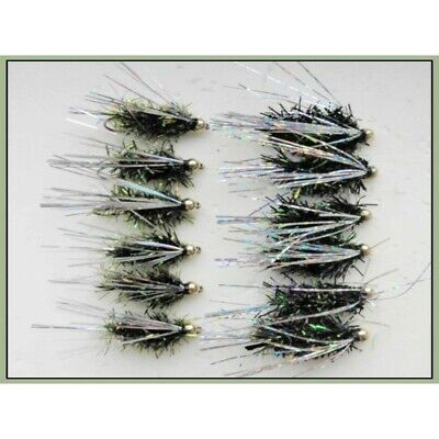 Trout flies, Lures, 12 Pack Olive and Black Fritz Sparkle, Size 10, Fly Fishing