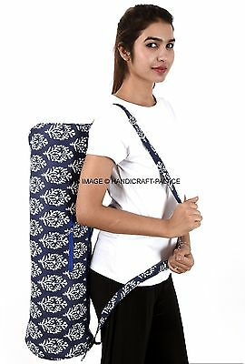 Cotton Yoga / Pilates Mat Bag with Carry Strap and Drawstring-NEW Indian Bag