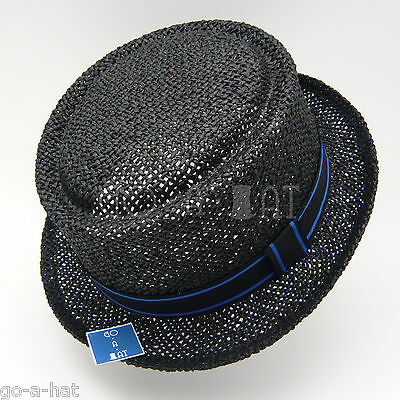 WHOLESALE LOT 5pcs Summer Straw Pork Pie Hat Women Soft Fedora Boater Hat Black