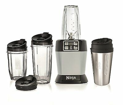 Nutri Ninja BL480UKCO with Auto-iQ 1000W Extraction Blender with 4 Cups & Lids