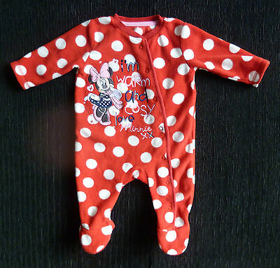 Baby clothes GIRL 0-3m Disney Minnie Mouse red/white spotted fleece sleepsuit