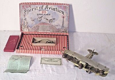 METALCRAFT SPIRIT OF AVIATION AIRCRAFT TOY 1920s PRESSED STEEL SET BOXED