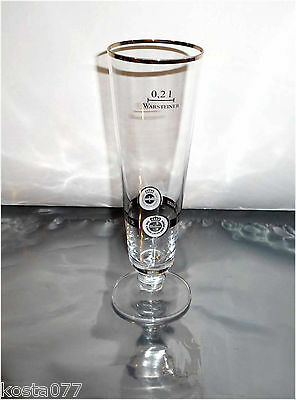 Warsteiner 0.2L Gold Rim Footed Pilsner Beer Glass Warstein Germany