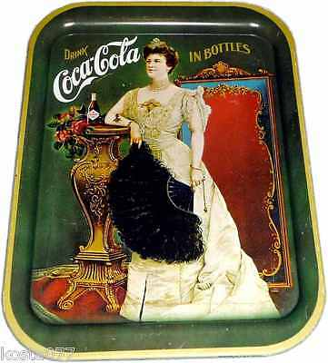 Drink Coca-Cola, Lillian Russell 1904, Tin Drink Serving Tray, Green