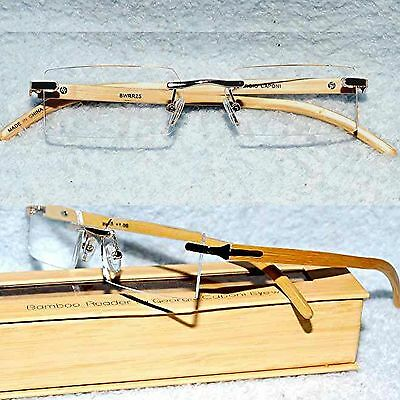 BAMBOO  Temple Rimless Reading Glasses Gold Metal Accents
