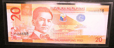 Rare 2014 Philippines 20 Pesos Solid Goodluck Number 8 Eh888888 Unc Sealed