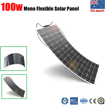 100W 12V Flexible Solar Panel Kit Caravan Boat Auto 4WD Camping Power Charging