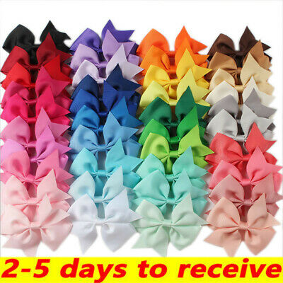 40 X Handmade Bow Hair Clip Alligator Clips Girls Ribbon Kids Sides Accessories