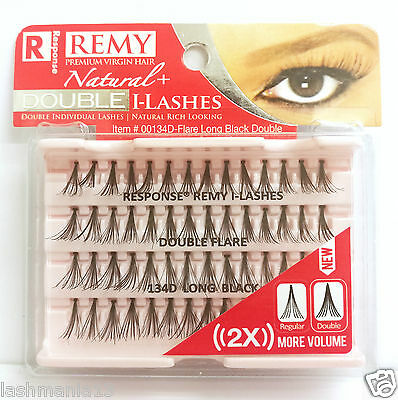 Response Premium Virgin Hair Remy Natural I-Lashes Double Flare  Long 134D Blk
