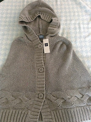girls genuine gap hoodie cape light grey cotton 3 /4 years NEW TAG