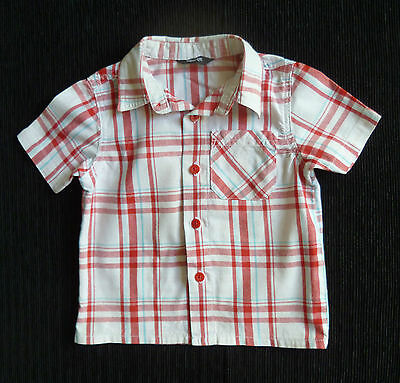 Baby clothes BOY 12-18m George cotton white,red,aqua check short sleeve shirt