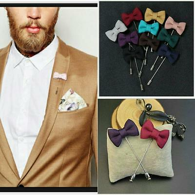 NEW Men's Mini Bowknot Corsage Boutonniere Brooch Fabric Lapel Pin Wedding/Suit