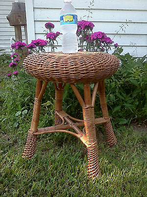 Vintage WICKER STOOL round mid century chair wooden wood foot bench rest