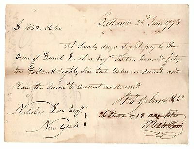 1793 Handwritten Payment Request from Baltimore to Nicholas Low, New York