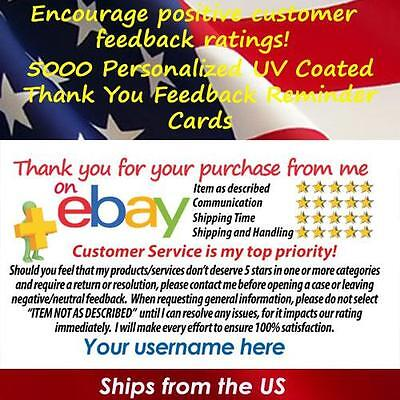 5000 UV GLOSS eBay SELLER CUSTOM 5 STAR DSR REMINDER THANK YOU BUSINESS CARDS