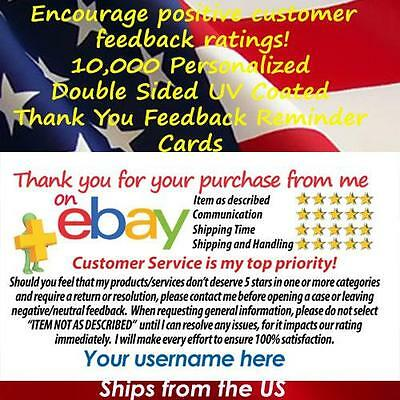 10000 DS UV GLOSS eBay SELLER PROFESSIONAL 5 STAR DSR RATING THANK YOU CARDS
