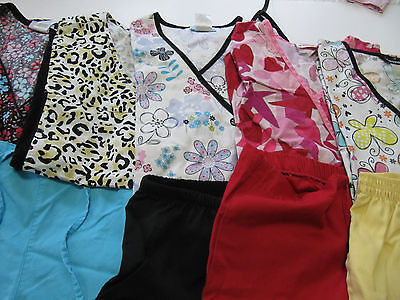 Womans Lot Of Scrub Sets, 5 Tops, 5 Pants, Very Nice    Size S (Box199)
