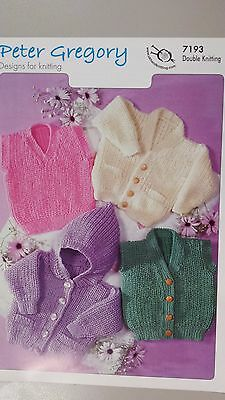 Peter Gregory Knitting Pattern #7193 to Knit Baby's Cardigan Vest or Hoodie
