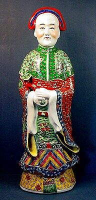 Huge Antique Chinese Famille Rose Porcelain Emperor With Scepter Figurine