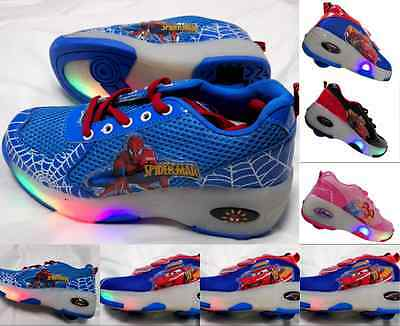 Flash Kid Toy Boy Girl Retractable Roller Wheel Sport Skate Shoes Sneaker Heelys