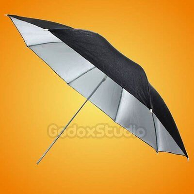 "[UK] 40"" 100cm Black Silver Reflective Umbrella for Studio Flash Strobe Light"