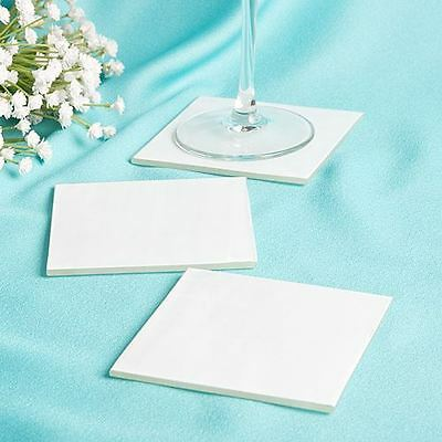 12 X Perfectly Plain Milky White Wedding & Party Glass Coasters Favours