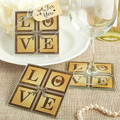Set of 6 Vintage Window Love Themed Wedding & Party Glass Coasters Favours