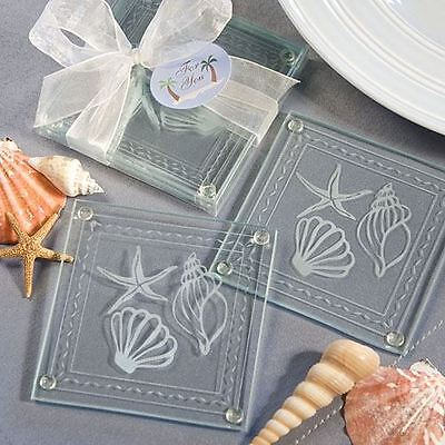 Set of 6 Beach Themed Wedding & Party Glass Coaster Favours