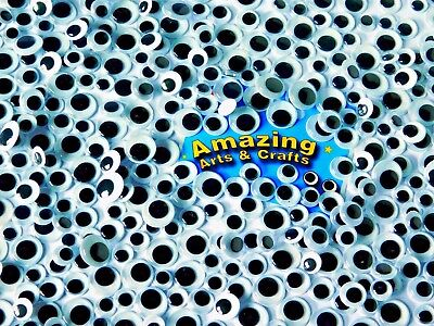 500 Eyes Wiggle Googly Wiggly Craft Google Black Assorted 10mm 12mm 15mm sizes