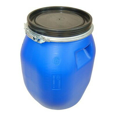 Plastic drum with open lid 30 L blue, food, water clamping ring (22094)