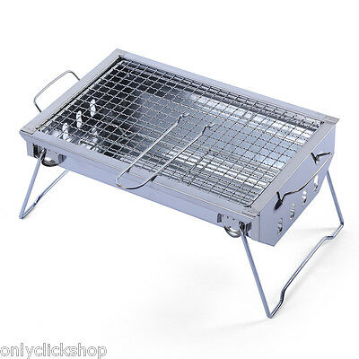 Folding Portable Stainless Steel BBQ Charcoal Grill Outdoor Camping Cooker AU