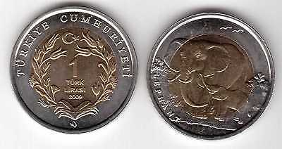 Turkey – Bimetal 1 New Lira Unc Coin 2009 Year Elephant