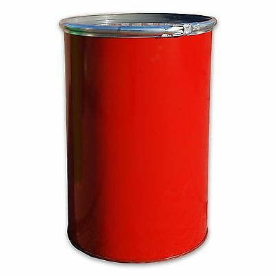 Metal drum with open lid, 213 L, Red keg, garden water tank (23017)